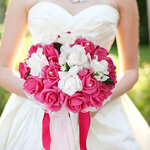 vLoveLife Wedding Bouquet White & Fuchsia Artificial Rose Flowers Bridal Bridesmaid Bouquets Handmade Posy Pearl Rhinestone Ribbon Decor