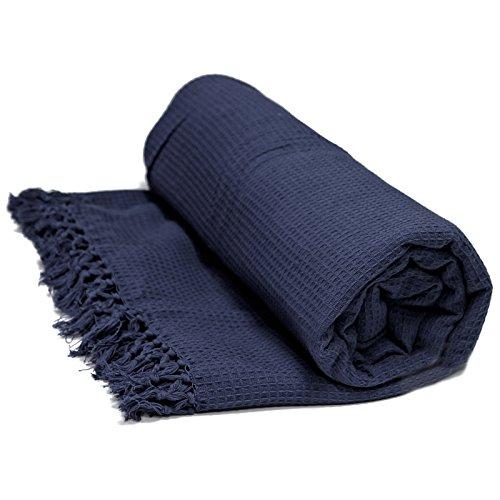 Just Contempo - Copriletto termico di lusso, cotone, blu( Navy Honeycomb), 178x254 cm