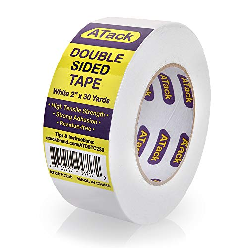 """ATack Double-Sided Tape White, 2"""" x 30 Yards, Heavy Duty Double Sides self Sticky Wall Fabric Tape for Wood Templates, Furniture, Leather, Curtains and Craft"""