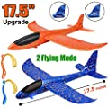 "2 Pack Airplane Toys, Upgrade 17.5"" Large Throwing Foam Plane, 2 Flight Mode Glider Plane, Flying Toy for Kids, Gifts for 3 4 5 6 7 Year Old Boy, Outdoor Sport Toys Birthday Party Favors Foam Airplane by BooTaa"