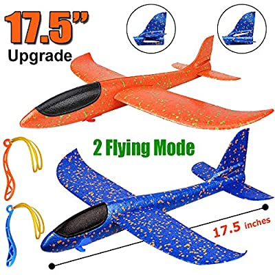 """2 Pack Airplane Toys, Upgrade 17.5"""" Large Throwing Foam Plane, 2 Flight Mode Glider Plane, Flying Toy for Kids, Gifts for 3 4 5 6 7 Year Old Boy, Outdoor Sport Toys Birthday Party Favors Foam Airplane by BooTaa"""