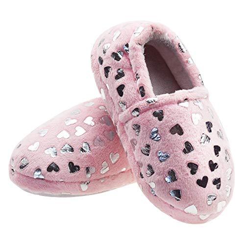 LULEX Girls Cute Fleece Heart Slippers Warm Household AntiSlip Indoor Home Slippers 3 M US Light Pink