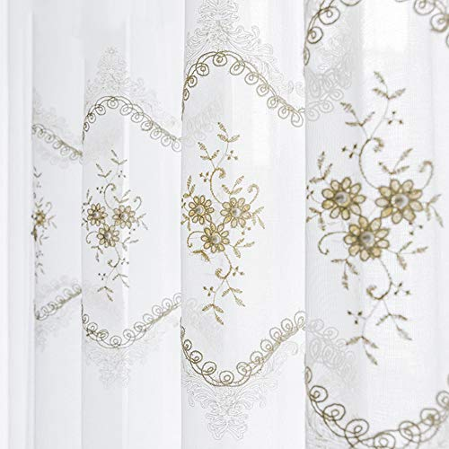Lefran Bestickt Gardine, Tüll Perle Spitze Vorhang,Weiß Lichtfilterung Fenstervorhang Für Wohnzimmer Schlafzimmer Haken Up