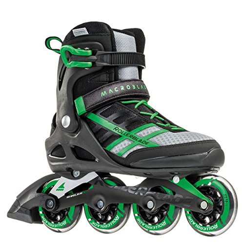 Rollerblade Macroblade 84 Mens Adult Fitness Inline Skate - Black/Green - 84 mm / 84A Wheels with SG7 Bearings - Performance Skates - US Size 11, Black/Green, Size 11