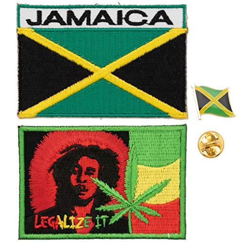 A-ONE Rechteckiger Aufnäher mit Jamaika-Flagge & Jamaika-Landflagge, Revers, Stickerei, Abzeichen, Metallknopf, 3 Stück