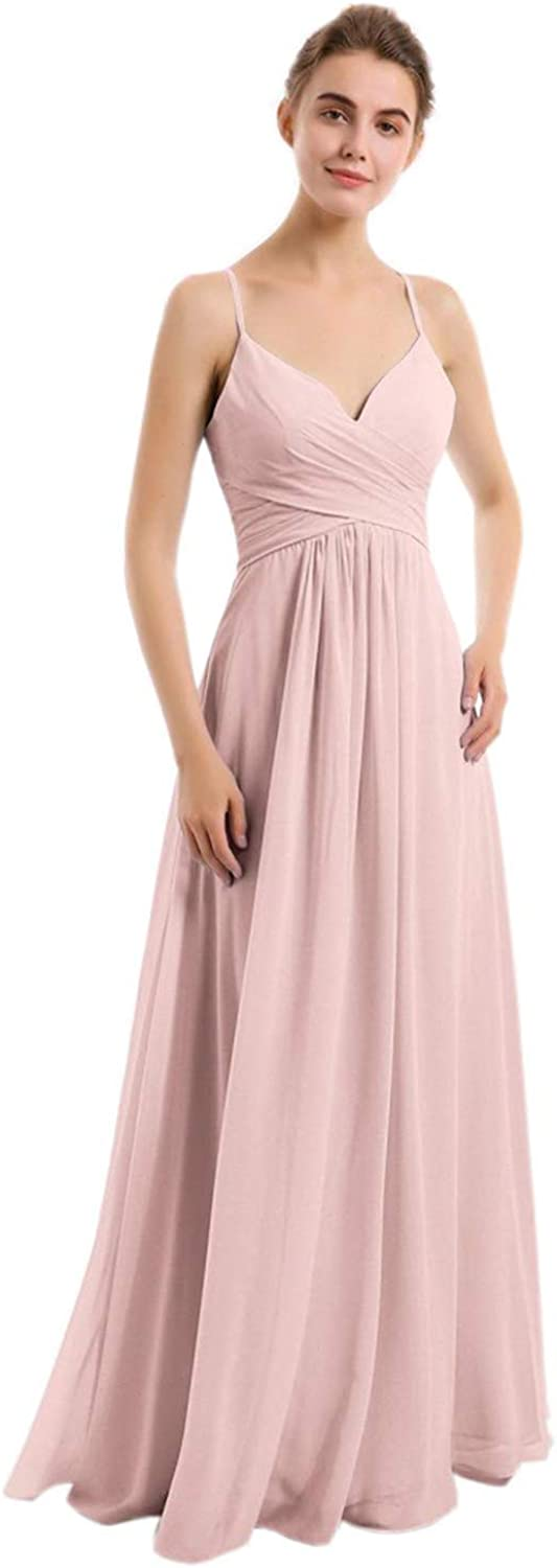 Gyin Women At the price of surprise V-Neck Bridesmaid Dress for A-Line Over item handling Eveni Long Wedding