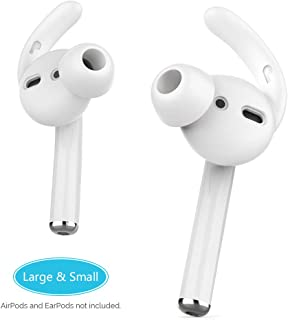 AhaStyle AirPods Ear Hooks Earbuds Covers Silicone [Sound Quality Enhancement] Compatible with Apple AirPods 2 and 1 or EarPods[2 Pairs- Large & Small](Clear)
