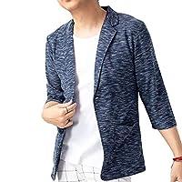 ジェネレス ジャケット 夏 カジュアル サマージャケット テーラードジャケット 7分袖 メンズ リップル・ネイビー LL