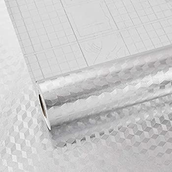 Melwod 15.8  x 118  Kitchen Stainless Steel Contact Paper Self Adhesive Peel and Stick Wallpaper Aluminum Foil Textured Paper Stickers Oilproof for Backsplash Dishwashers Refrigerator Cabinets Shelf