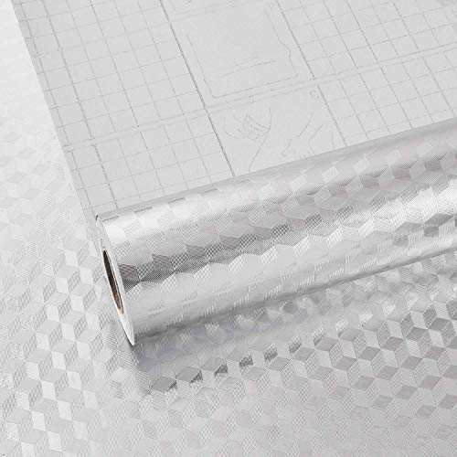 Melwod 15.8' x 78.7' Kitchen Stainless Steel Contact Paper Self Adhesive Peel and Stick Wallpaper Aluminum Foil Textured Paper Stickers Oilproof for Backsplash Dishwashers Refrigerator Cabinets Shelf