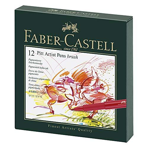 Faber-Castell 167146 - Tuschestift Pitt Artist Pen B, Atelierbox 12er