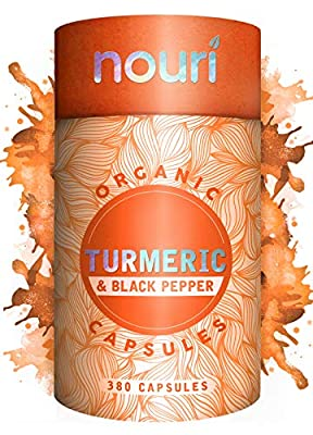 Organic Turmeric and Black Pepper Capsules | 380 Capsules 6 Month Supply | Max Strength 1300mg Curcumin with 20mg Black Pepper Extract | Turmeric Supplement |