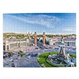 CVSANALA Rompecabezas con Imágenes 500 Piezas,Vista de la Ciudad del Centro de Barcelona España Panorama Bus Catedral Fuente Viajes,Juego Familiar Arte de Pared Regalo,20.4' x 15'