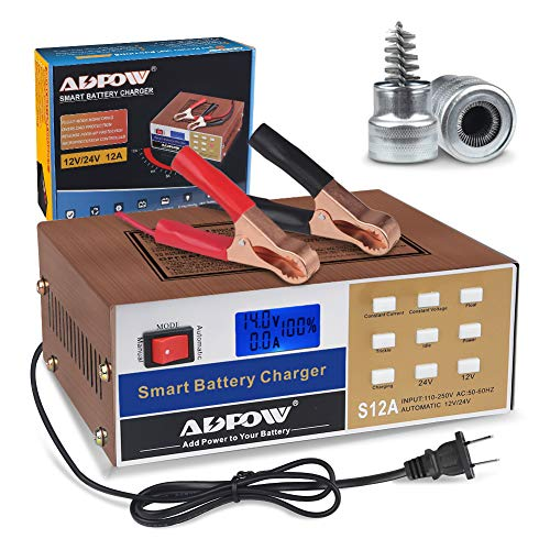 ADPOW Automotive Smart Battery Charger 12V 24V 12A Automatic Car Battery Maintainer Intelligent Pulse Repair for Boat Marine Truck Lawn Mower Deep Cycle Battery with Terminal Clean Brush