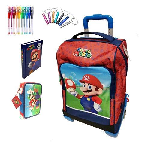 Schulrucksack Trolley Super Mario mit Pilz Version Deluxe Reise rot + Federmäppchen 3 Etagen komplett + Tagebuch + Pfeife + Gratis Buntstift