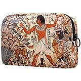Bolsa de cosméticos Bolsa de Maquillaje Grande Bolsa con Cremallera Bolsa de Aseo Organizador portátil de cosméticos de Viaje Antigua Pintura egipcia para Mujeres y niñas