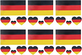 Daqin German Flag Tattoo Stickers Waterproof Tattoo Stickers Sweat-proof Facial Stickers Stickers Party Decorations 6 Sets (Color : German flag)