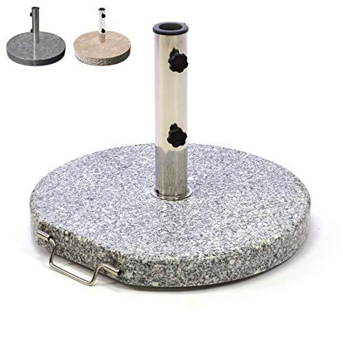 Nexos Sonnenschirmständer Granit rund grau mit Reduzierringen Edelstahl Hülse Griff Rollen Ø 50 cm 25 kg Für Schirme bis 2m