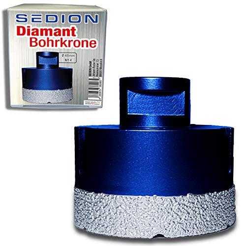 SEDION ® Bohrkrone 68mm x M14 - Dosenbohrer zum Bohren von harte Fliesen - Dosensenker - Sedion Premium Qualität mit hochwertige Diamanten - Kompatibel mit Bosch, Makita uvm. Winkelschleifer Flex