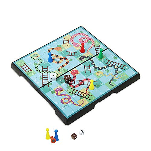 KOKOSUN Magnetic Folding Snakes and Ladders Board Game Mini Set -7.9″, Family Fun Game Toys for Kids(Rounded Corner)