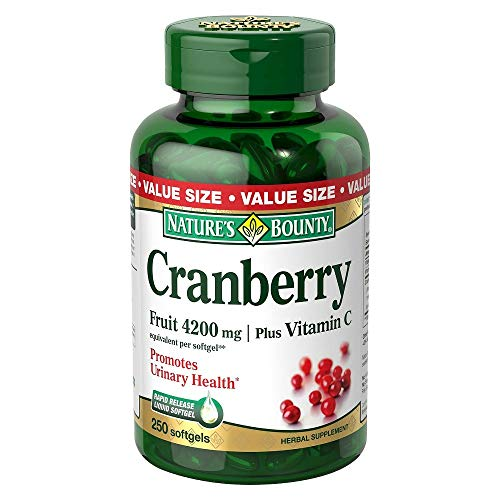 Nature's Bounty Cranberry 4200 mg With Vitamin C Herbal Supplement Softgels - 250 ct, Pack of 2