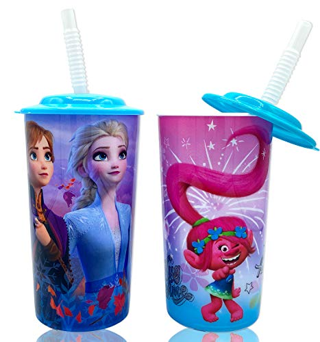 Disney Special Frozen 2 and Trolls Colorful Water Tumblers with Lid, Reusable Straw Deluxe Gift Set for Kids Boys Girls - Safe Approved BPA free, Perfect Gift Goodies Home Travel