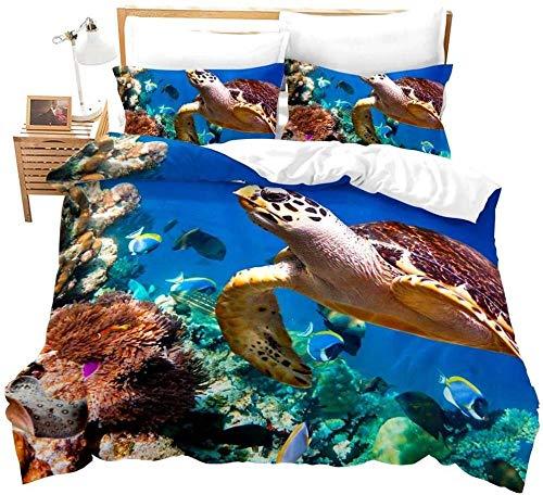 WINTER Set De Funda Nórdica 3D Microfibra Juego De Cama para Niños Fundas De Almohada 200 Cm x 200 Cm En el océano azul Patrón de arrecife de peces tortuga con Estampado 3D Funda De Edredón Hipoalergé