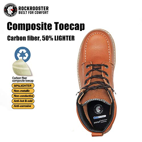 ROCKROOSTER Comfortable Safety Work Boots Men, Composite Toe, Moc Toe Wedge Safety Water Resistant Leather Shoes for Electrician, Carpenter, Ironworker, Sheetmetal Worker constructions AP828-10 Brown