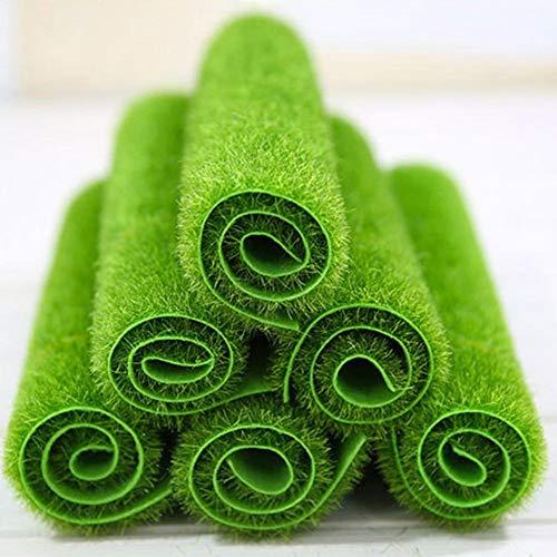6PCS Pelouse synthétique de mousse de gazon synthétique réaliste de gazon de mousse, tapis de tapis pour animaux de compagnie, décoration d'aquarium, tapis synthétique synthétique de gazon