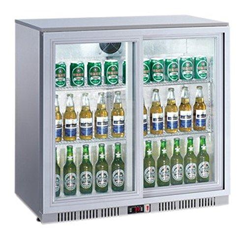 Flaschenkühlschrank mit 2 Schiebetüren Kühlschrank Getränkekühlschrank Gewerbekühlschrank 208 Liter Gastrokühlschrank