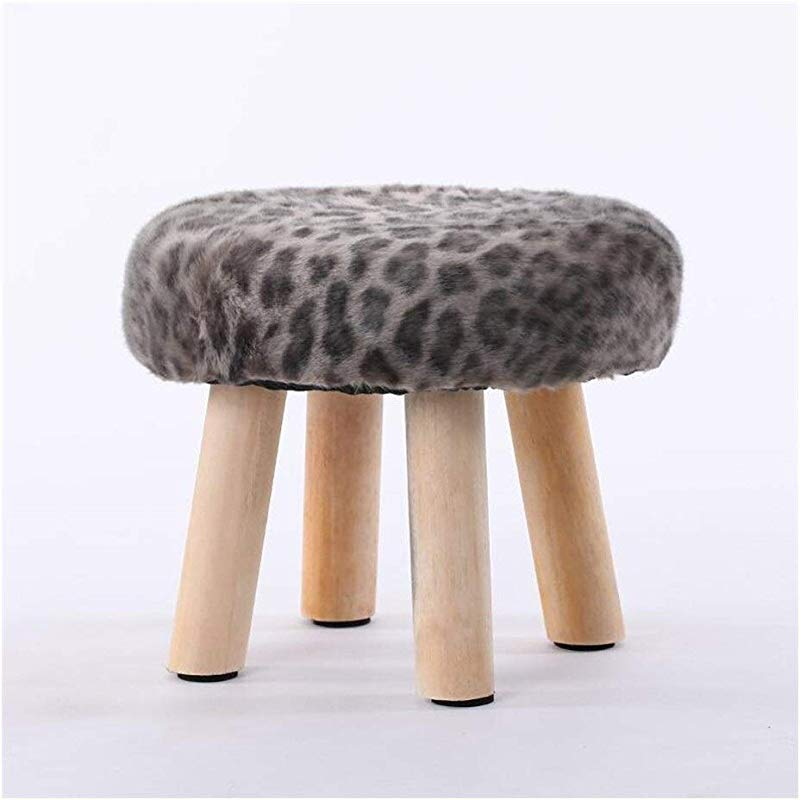 Carl Artbay Wooden Footstool Gray Beige Markings 4legged Stool Wood Small Bench Creative Stool Removable And Washable Stool Home
