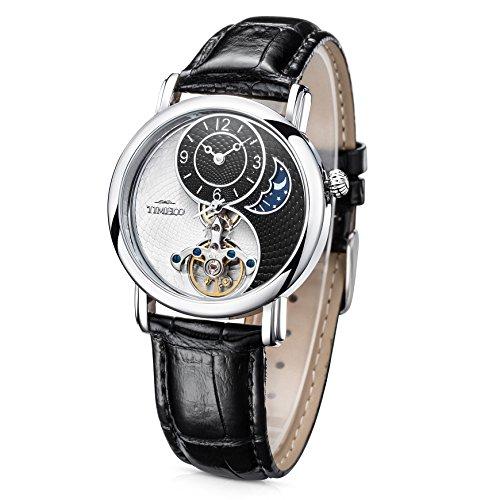 Time100 Reloj mecánico automático para Hombre Mujer Reloj Unisex, Correa de Cuero Color Negro
