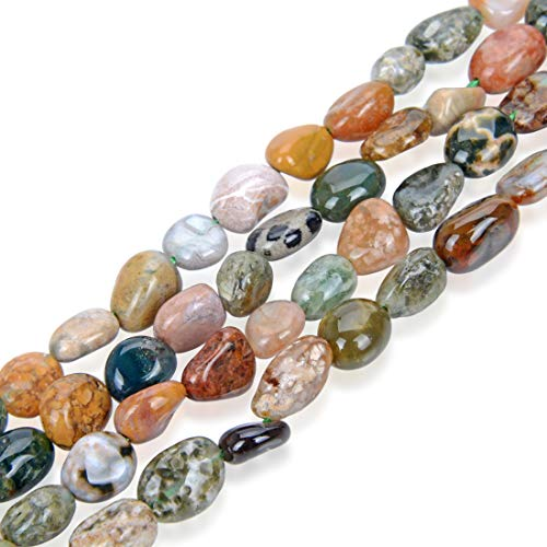 1 Strand Natural Ocean Jasper Gemstone 6mm to 8mm Free Form Oval Pebbly Stone Beads 15 inch for Jewelry Craft Making GZ11-41
