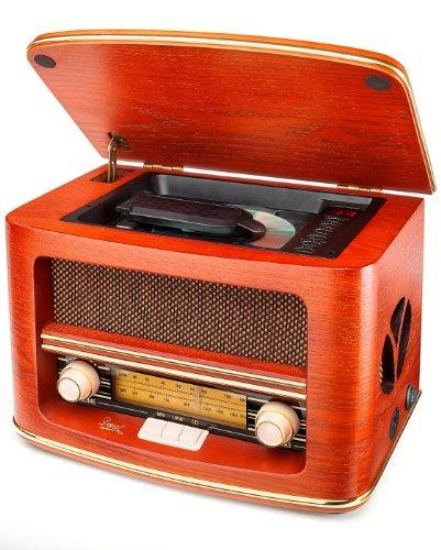 Dual NR 1 CD Nostalgieradio mit CD-Player (UKW-/MW-Tuner, Frequenzskala, Holzgehäuse, Lautstärkeregler, Stereoklang-AUX-IN) braun