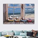 QWERGLL 3 Pannelli Quadro su Tela Stampato HD Immagini per Pareti 3 Paesaggi Tranquilli al di Fuori Vista sul Mare Finestra Poster Camera Decorazioni per La Casa