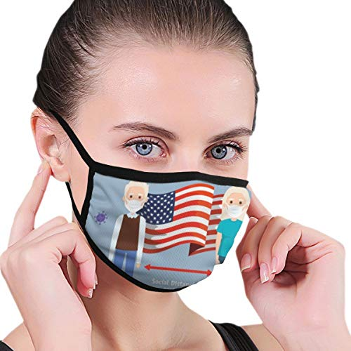 Face Protection Printed (Old Couple with USA Flag Coronavirus Covid Pattern) Reusable Neck Gaiter Bandana Scarf Washable Ear Loop Men Women Kids Outdoor Running Black