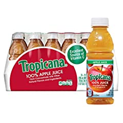 Contains twenty four (24) 10 ounces bottles of Tropicana Apple Juice; Packaging may Vary Tropicana 100 percent Apple Juice is the perfect beverage to pack in lunches or drink on the go Add Tropicana Apple Juice to your daily routine for a delicious a...