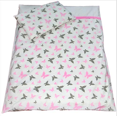 Balbina Ropa de cama para bebé reversible  Rosa Mariposas 100 x 135 cm funda nórdica 40 x 60 cm funda de almohada |2 piezas 100% algodón con cremallera (Mariposas Gris/Rosa)