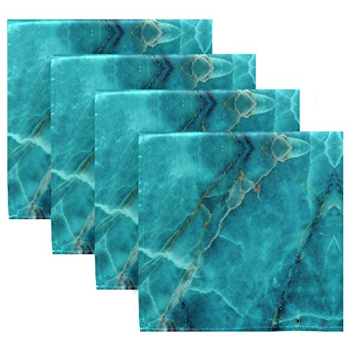 ALAZA Teal Green Marble Texture Cloth Napkins Dinner Napkins Set of 4,Reusable Table Napkins Washable Polyester Fabric for Cocktail Party Holiday Wedding Home Decorative