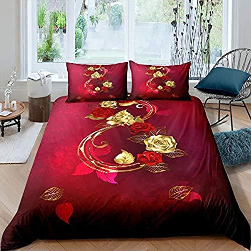 Matasuer Duvet Cover Brushed Microfibre - Red Golden Rose Plant - King (220 X 230 Cm) 2 Pillowcase 50 X 75 Cm Soft Easy Care Anti-Allergic Bedding Set Gift For Teens Girls