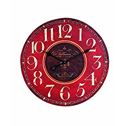 Creative Co-op Wooden Wall Clock, Red