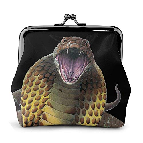 Cobra Snake Coin Purse Wallet Bule -Lo Small Leather Change Pouch Gift for Women