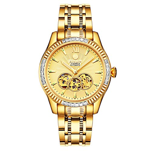 BINLUN Relojes esqueléticos automáticos chapados en Oro 18K para Hombres Relojes Luminosos Impermeables para Hombres Diamantes