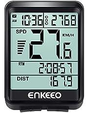 enkeeo サイクルコンピューター スピードメーター 有線式 大画面表示 バックライト付き 自動電源ON/OFF 取付簡単 多機能 スピード 距離 時間などを計測