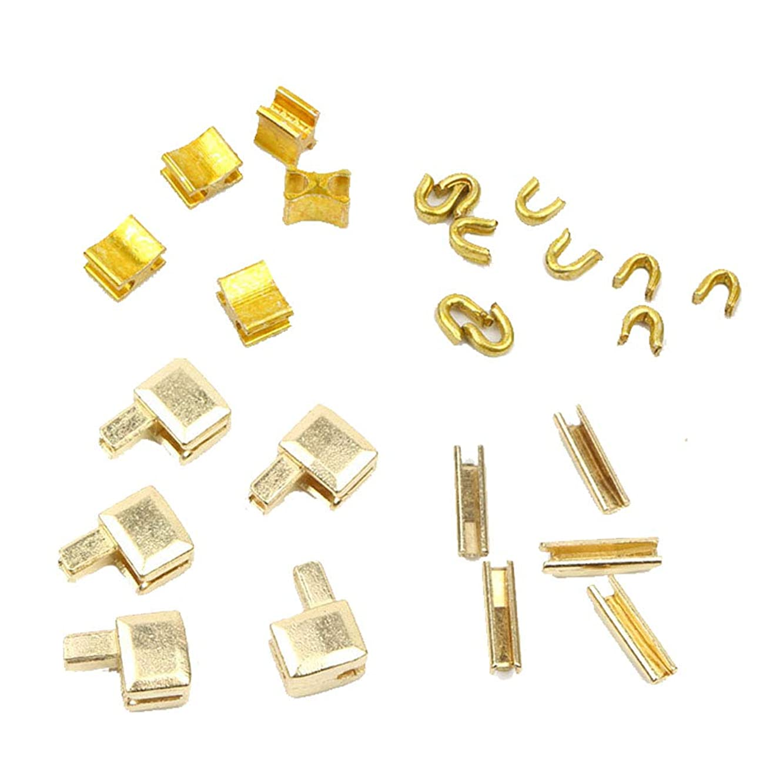 Lzttyee 25Pcs (5 Set) Metal Zipper Bottom Stop Head Zipper Slider Retainer Insertion Pin Easy for Zipper Repair Zipper Repair Kit (#5) (Gold)