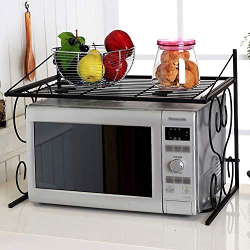 Kitchen furniture - Support de rangement domestique pour étagère en métal à double couche pour support de four à micro-ondes, noir WXP