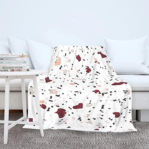 Terrazzo - Manta suave y cálida con textura de mármol, para el sofá, para dormir, de microfibra, para adultos y niños, color blanco, 150 x 200 cm
