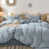 MooMee Bettwäsche-Set, 100 prozent gewaschene Baumwolle, Leinenähnlich, strukturiert, atmungsaktiv, langlebig, weich, bequem, Kornblumenblau, Queen-Size-Bett