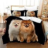 Zyttao Pet Puppy 3D Print Pattern Funda nórdica Funda de Almohada, Familia, Novia, Adecuado para Dormitorio, apartamento, Ropa de Cama cómoda-8_200 * 200cm3 (pcs)