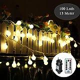 Kugel Lichterkette 100Leds 13m 8Modi Tomshine Outdoor Lichterkette mit Fernbedienung/IP44 Wasserdicht/Timing-Funktion/Dimmbar/Stromversorgung für Party Garten Hochzeit Ferien